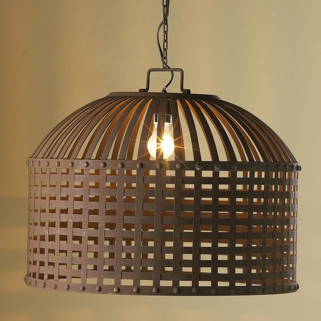 Rustic Strapped Metal Barrel Lantern Lamp Shades By
