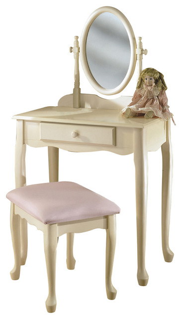 Lovely Off White Cream Vanity Swivel Mirror Bench Set Young Girls Make Up Tab