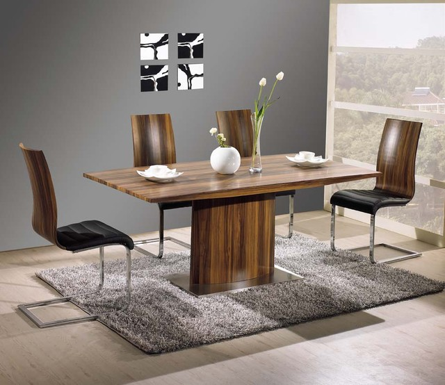 Exquisite Rectangular Wood And Leather Dinner Furniture