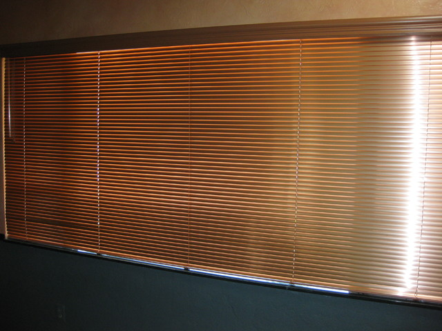 Metal Mini Blinds With Faux Wood Blind Valances Eclectic