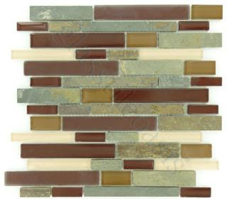 Maroon Random Bricks Backsplash Glossy Frosted and Unpolished Glass and Stone - Modern - Tile