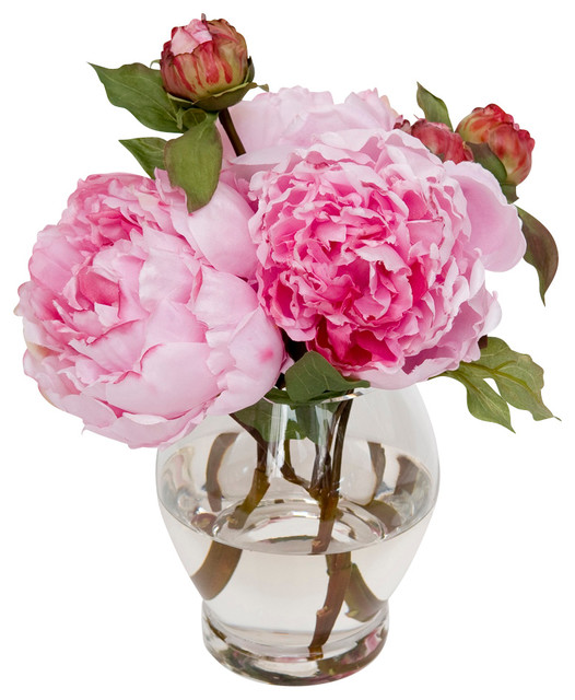 Vibrant Faux Peonies Traditional Artificial Flowers Plants And Trees By The French Bee