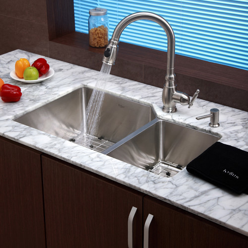 "Stainless Steel Undermount 32"" 70/30 Double Bowl Kitchen Sink with Kitchen Fauce modern-bath-products"
