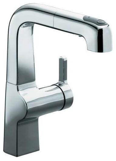 KOHLER K-6332-CP Evoke Single Control Pullout Secondary Kitchen Faucet contemporary-kitchen-faucets