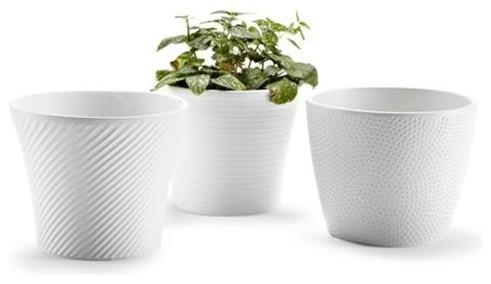 Ceramic Embossed Small White Flower Pots Set Of 3