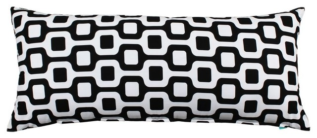 """Bain"""" Black and White Body Pillow Cover modern-decorative-pillows"""