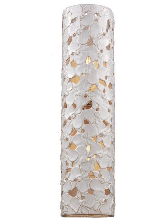 Feiss - Feiss VS52002-WTPC/BD Azalia 2-Light Bathroom Vanity Lights in White Taupe Ceram - 2 Bulb White Taupe Ceramic / Beach Wood Vanity Strip