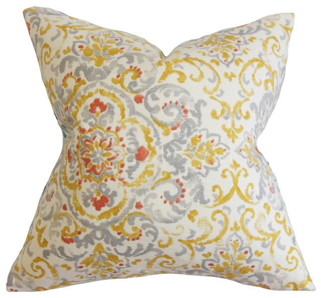 """Halcyon Floral Pillow Gray Yellow 18"""" x 18"""" traditional-decorative-pillows"""