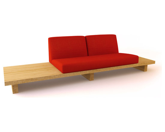 Bamboo Float 2-Seater RIght - Two End Tables - This sectional, comprised of bamboo and fabric of your choice, offers an innovative seating solution. It's offers plenty of comfort, especially for how minimal it is.Viesso designs and manufactures this piece of modern furniture. All of the sectional sofas from the Viesso line are built one at a time in Los Angeles in 3 weeks. With all the custom options available, they are truly built for you and your space. A custom sofa that's also an eco sofa. Yes, it's that good.