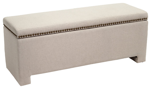 Hudson Fabric Storage Ottoman Bench, Ivory - Contemporary ...