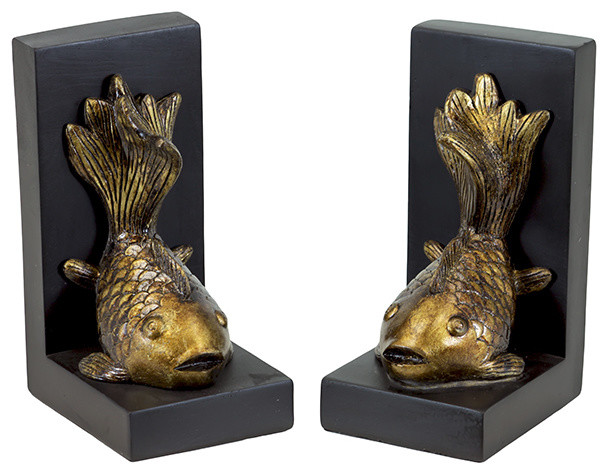 Koi fish resin bookends transitional bookends by for Koi home decor