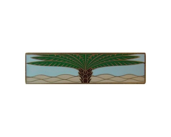 """Inviting Home - Horizontal Royal Palm Pull (antique brass-pale blue) - Hand-cast Horizontal Royal Palm Pull in antique brass-pale blue finish; 4""""W x 1""""H; Product Specification: Made in the USA. Fine-art foundry hand-pours and hand finished hardware knobs and pulls using Old World methods. Lifetime guaranteed against flaws in craftsmanship. Exceptional clarity of details and depth of relief. All knobs and pulls are hand cast from solid fine pewter or solid bronze. The term antique refers to special methods of treating metal so there is contrast between relief and recessed areas. Knobs and Pulls are lacquered to protect the finish."""