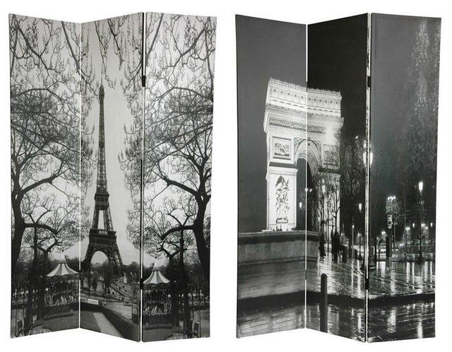 6 ft. Tall Double Sided Paris Room Divider - Eiffel Tower/Arc De Triomphe industrial-screens-and-room-dividers