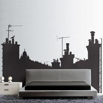 Paris Skyline B Wall Stickers contemporary-wall-decals