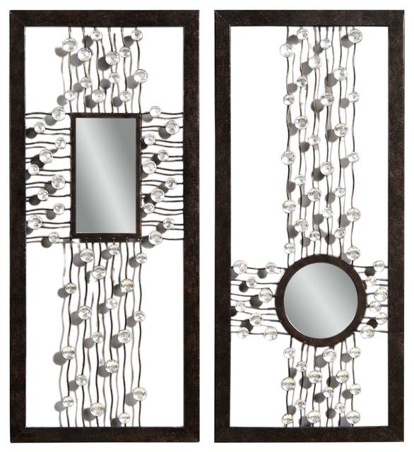 bronze decorative rectangle wall mirrors pair modern
