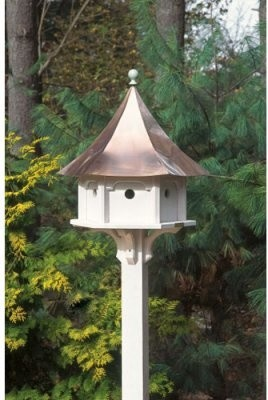 Lazy Hill Farms Polished Copper Roof Carousel Bird House modern-birdhouses