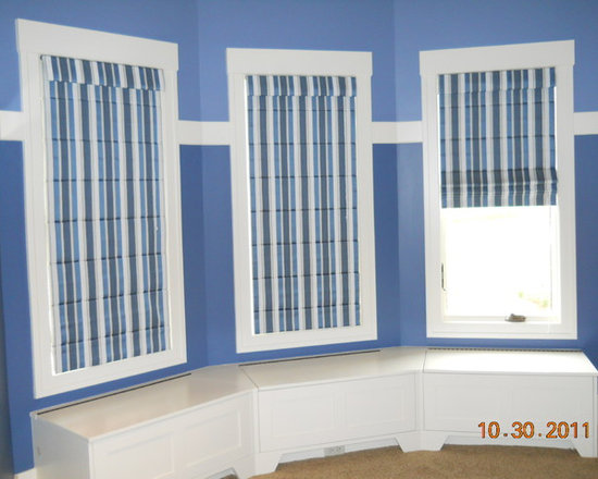 Striped Flat Roman Shades - Beautiful custom roman shades with blackout lining. Photo taken by J Cisler. Project courtesy of the Langen's.