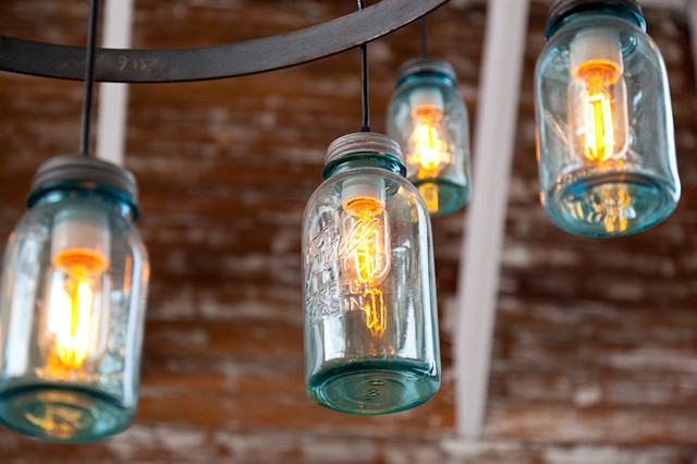 Custom Fab Mason Jar Light Fixture eclectic chandeliers