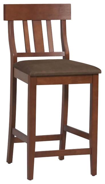 "Linon Torino Slat Back Bar Stool 30"" in Dark Cherry transitional-bar-stools-and-counter-stools"