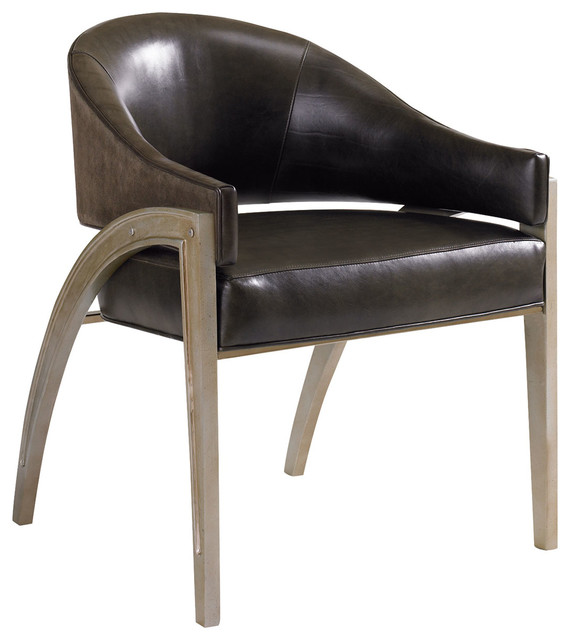 Caracole Metal Leather Chair Ats Chair 04b Transitional