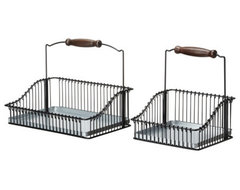 FINTORP Wire basket with handle, set of 2 modern dish racks