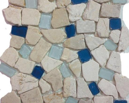 Sea Glass Tile And Pebbles Atlantis Mosiac Blend, Box - Sold by the box 10 sheets