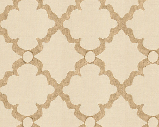"Ballard Designs - Quatrefoil Trellis Sand Sunbrella Fabric by the Yard - Content: 100% Sunbrella® Acrylic. Repeat: Non-railroaded fabric, 6 3/4"" Repeat. Care: Spot clean with mild soap. Width: 54"" wide. Cream and sand quatrefoil woven in washable, easy-care Sunbrella acrylic. Content: 100% Sunbrella Acrylic. . . . Because fabrics are available in whole-yard increments only, please round your yardage up to the next whole number if your project calls for fractions of a yard. To order fabric for Ballard Customer's-Own-Material (COM) items, please refer to the order instructions provided for each product.Ballard offers free fabric swatches: $5.95 Shipping and Processing, ten swatch maximum. Sorry, cut fabric is non-returnable."