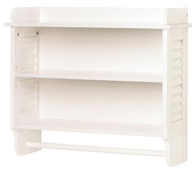Gifts & Decor Nantucket Home White Bathroom Wall Shelf Towel Holder - Modern - Towel Bars And ...