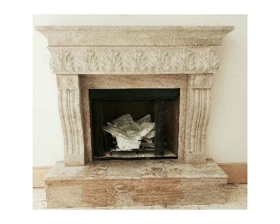 Installations - Hand carved Travertine marble mantle-Spring