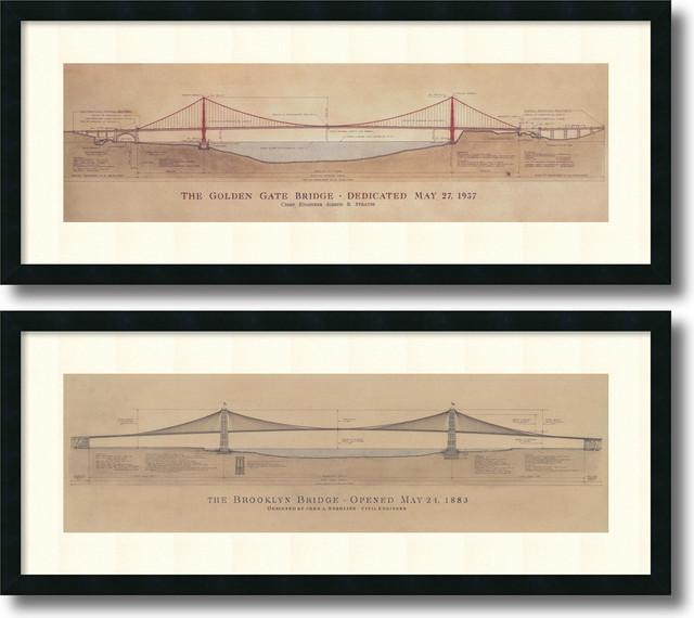 Craig S. Holmes 'Golden Gate Bridge, Brooklyn Bridge- set of 2' Framed Art Print - Traditional ...