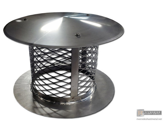 Round stainless steel chimney cap - This simple chimney cap features a flat bottom to sit on top of a chimney or flue vent, a removable roof and its made from stainless steel sheets and expanded screen. All seams are soldered and/or riveted. Material type and thickness is subject to change as per customers specifications.
