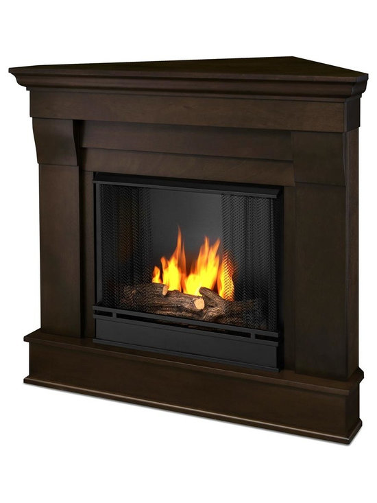 Real Flame - Chateau Corner Ventless Gel Fireplace in Dark - Uses clean burning Real Flame Gel fuel emitting up to 9,000 BTUs of heat per hour lasting up to 3 hours. Includes: Mantel, firebox, hand painted cast concrete log, and screen kit. Solid wood and veneered MDF construction.. Uses Only Real Flame 13oz Gel Fuel Cans, not included. Assembly Required. 40.9 in. W x 25.28 in. D x 37.6 in. H (65.4 lbs.)The Chateau Corner Fireplace features the clean lines and classic styling familiar to stone mantels, realized in wood. In three great finishes, this design is sure to compliment a variety of decor, from classic to contemporary. The hand-painted log set and brightcrackling flame add to the realistic look of this Real Flame Gel Fuel Fireplace. Uses 3 - 13oz. cans of Real Flame Gel Fuel.
