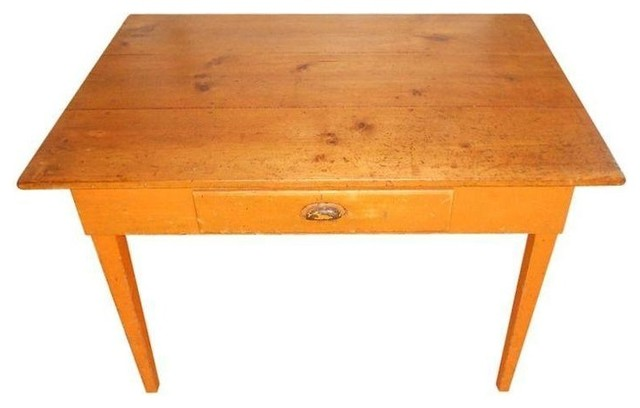 Used Pine Farmhouse Table With Original Orange Paint