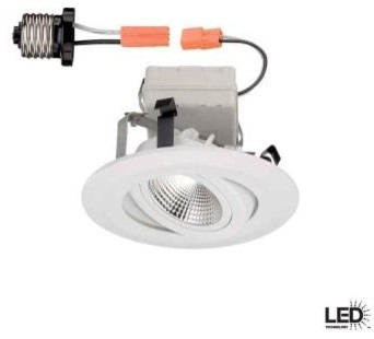 Commercial Electric 4 in. Recessed White Gimbal LED Trim CER4742WH contemporary-ceiling-fans