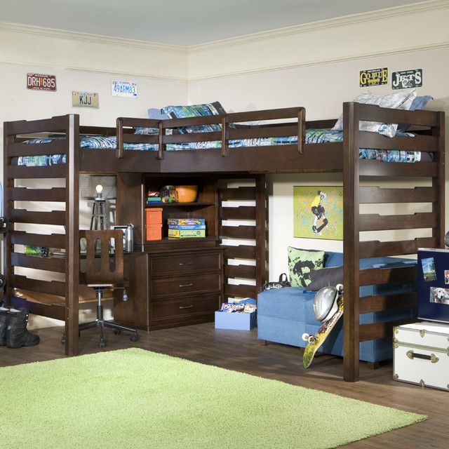 studio dual corner loft bed modern kids beds by