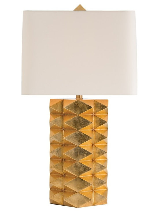 Arteriors Home - Jackson Table Lamp - Jackson Table Lamp features a faceted base in Gold Leaf topped with an Ivory microfiber shade. One 150 watt, 120 volt A19 3-Way type medium base incandescent bulb is required, but not included. 16.5 inch width x 30.5 inch height x 16.5 inch depth.