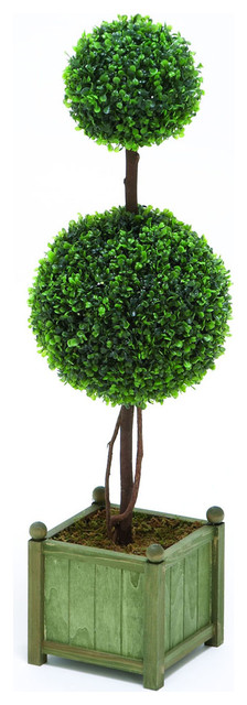 Contemporary Polyester Topiary in Green Color with Boxwood traditional-plants