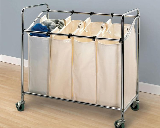Four Canvas Bag Laundry Rolling Sorter -