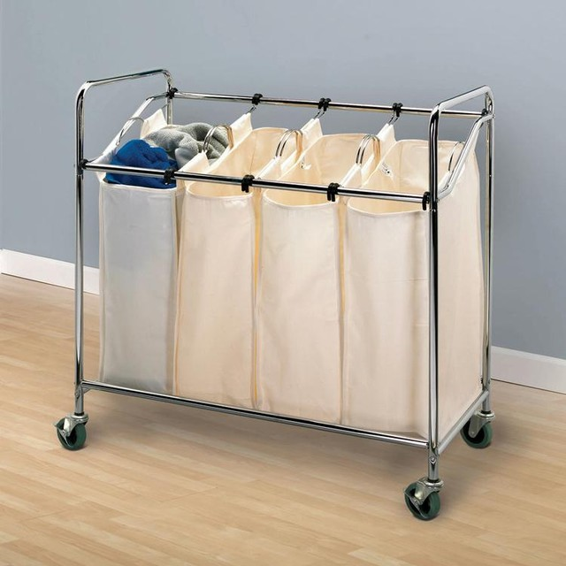Four Canvas Bag Laundry Rolling Sorter Contemporary Hampers