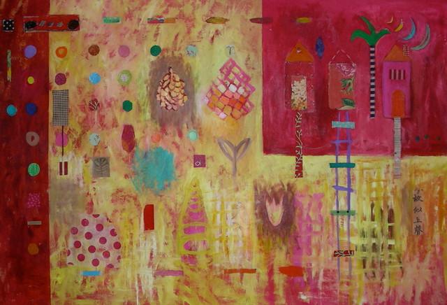 Art:: palette fuchsia, pink, burgundy artwork