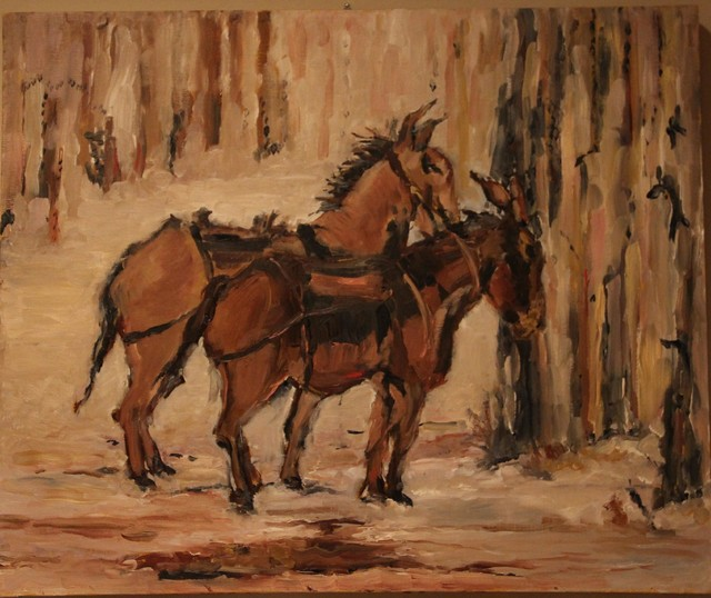 Thoroughbreads, oil on canvas, unframed contemporary-artwork