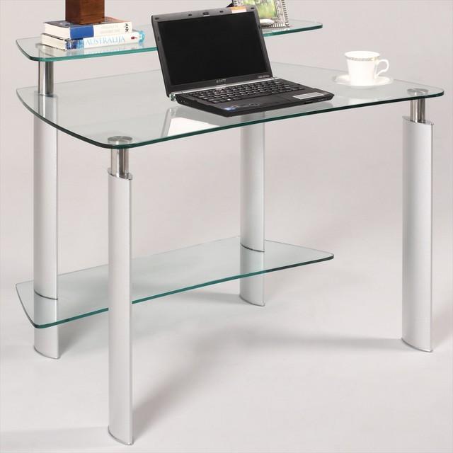 clear glass computer desk modern desks and hutches