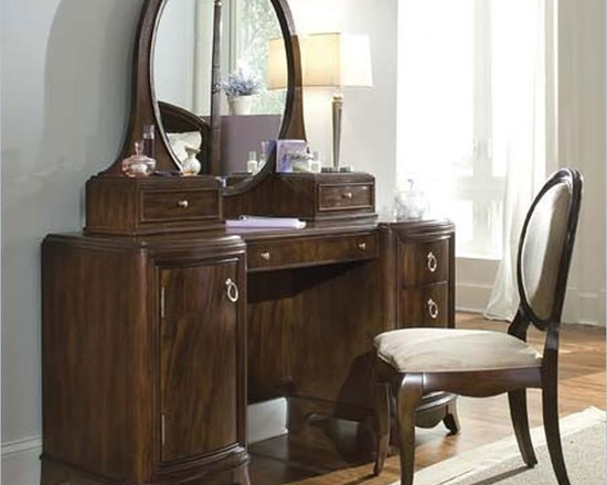 Lea Elite Rhapsody Wood Pedestal Vanity/Desk in Dark Cherry - Features: