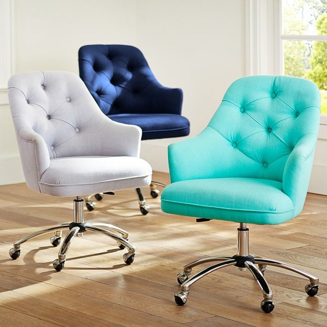 Tufted desk chair contemporary office chairs by pbteen for Contemporary home office chairs