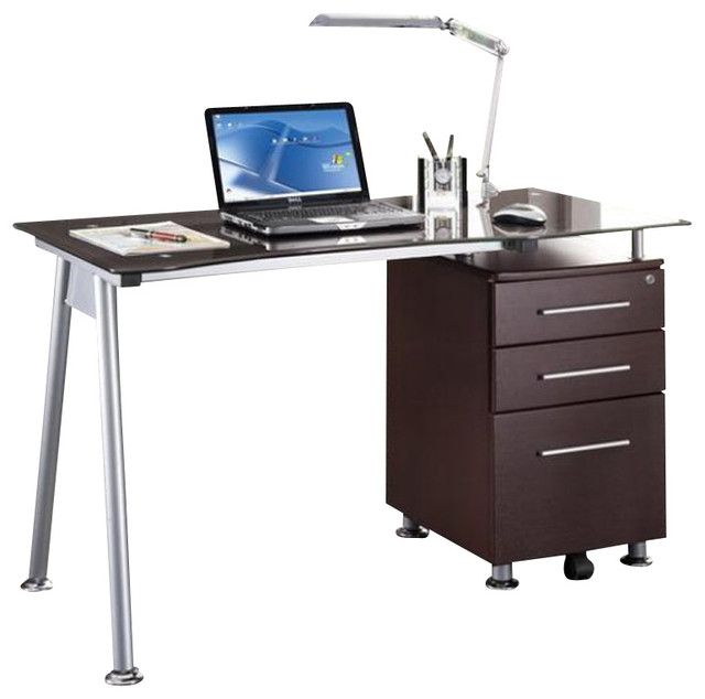 Techni Mobili Tempered Glass Top Computer Desk in Chocolate - Modern - Desks And Hutches - by Cymax
