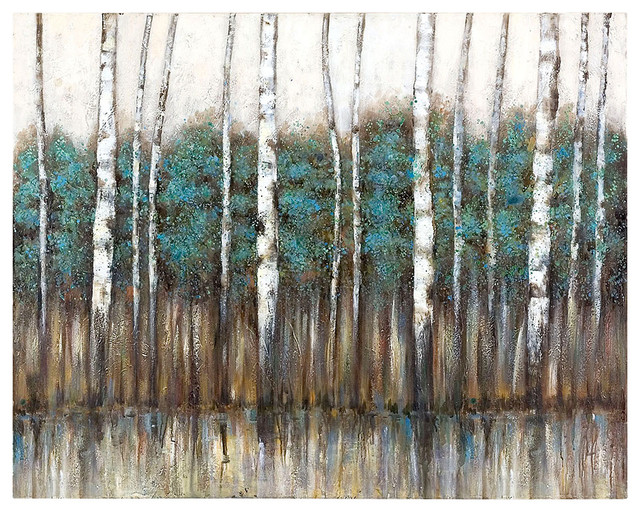 Edge of the Forest Hand Painted Canvas transitional-artwork