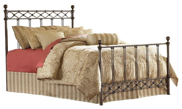 Traditional Argyle Metal Poster Bed (Cal King) traditional-beds