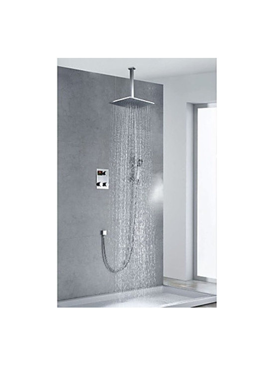Shower Faucets - Chrome Finish Contemporary Thermostatic LED Digital Display 12 inch Square Showerhead and Handshower--FaucetSuperDeal.com