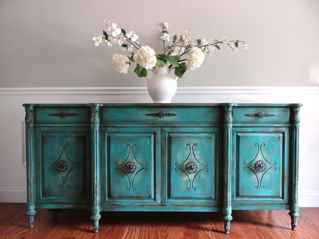 Vintage Hand Painted French Country Vintage Turquoise Buffet Sideboard - Traditional - Buffets ...