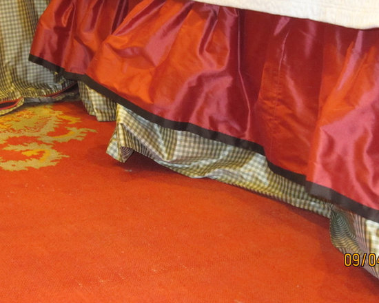 2774 - She wanted the bedskirt to be red, but we could not exactly match the red in the Oushak, so I transistioned with a green and brown silk, which touch the rug.